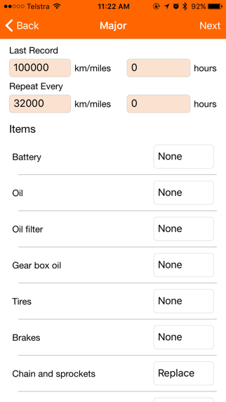 Motorbike Service - motorcycle maintenance log book Screenshot