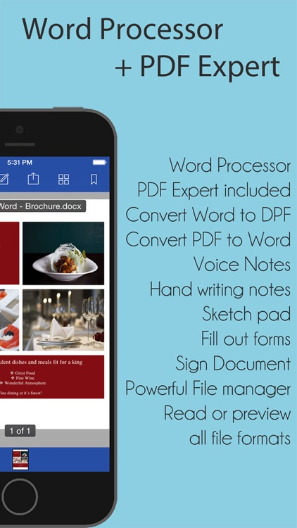 iWord Processor for Microsoft Office + PDF Professional