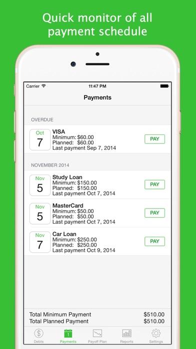 Debts review screenshots