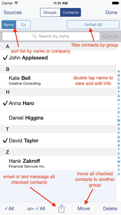 Speed Names: Contacts, Groups, Email & SMS