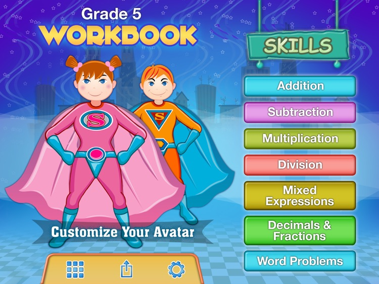 5th Grade Math Workbook : Interactive worksheets to review and practice Common Core education topics