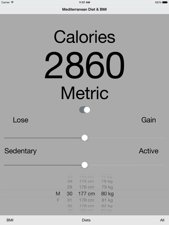 Mediterranean Diet Planner & Calorie BMI Calculator HD