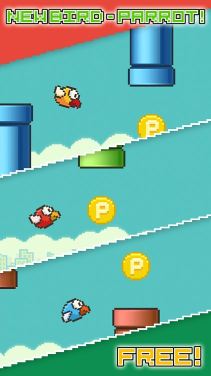 Flappy Parrot - Bird Resurrection after fall or smash and 2 Players support