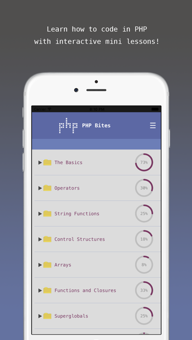 PHP Bites - Learn How to Code in PHP with Interactive Mini Lessons screenshot one