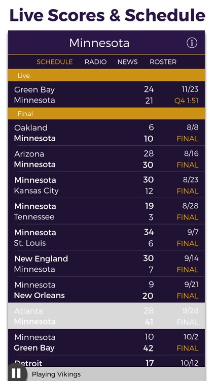 Minnesota Football Radio & Live Scores screenshot-2