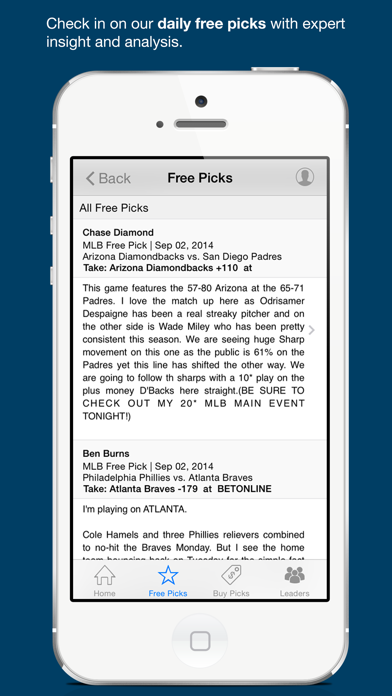 Free Sports Picks & Odds Screenshot