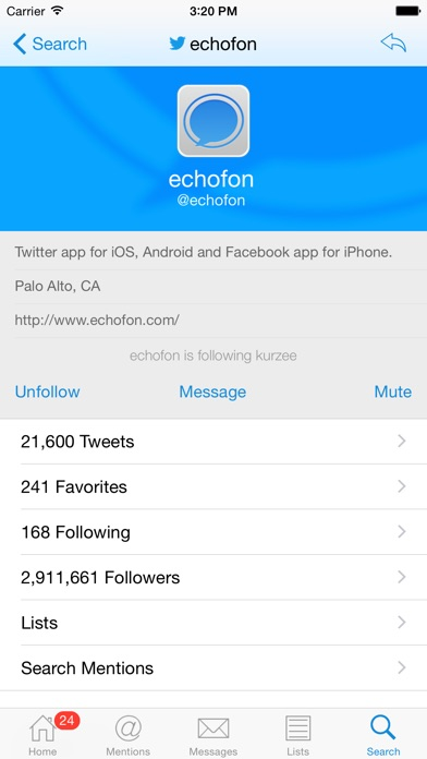 Echofon for Twitterのスクリーンショット4