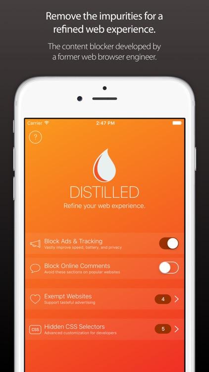 Distilled ~ The Ad & Content Blocker With Taste