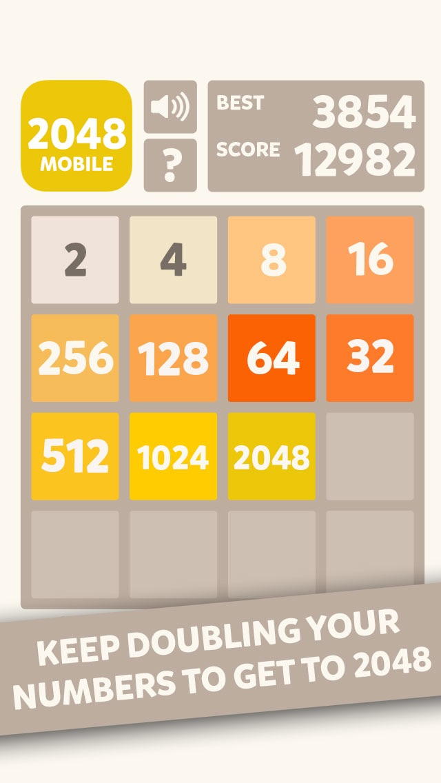 2048 Mobile Logic Game - Join the numbers Screenshot
