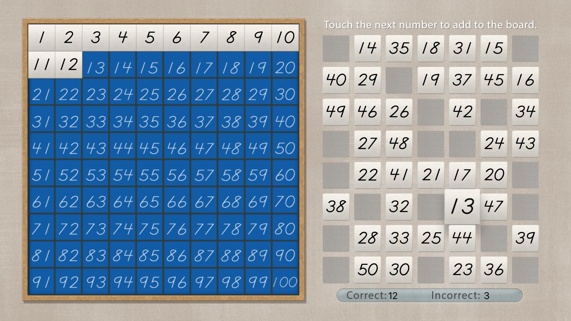 Hundred Board - Math by Mobile Montessori screenshot 2