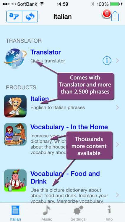 Italian - Talking English to Italian Translator and Phrasebook