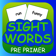 Sight Words Pre Primer for Flash Cards - sightwords for kids in preschool and kindergarten