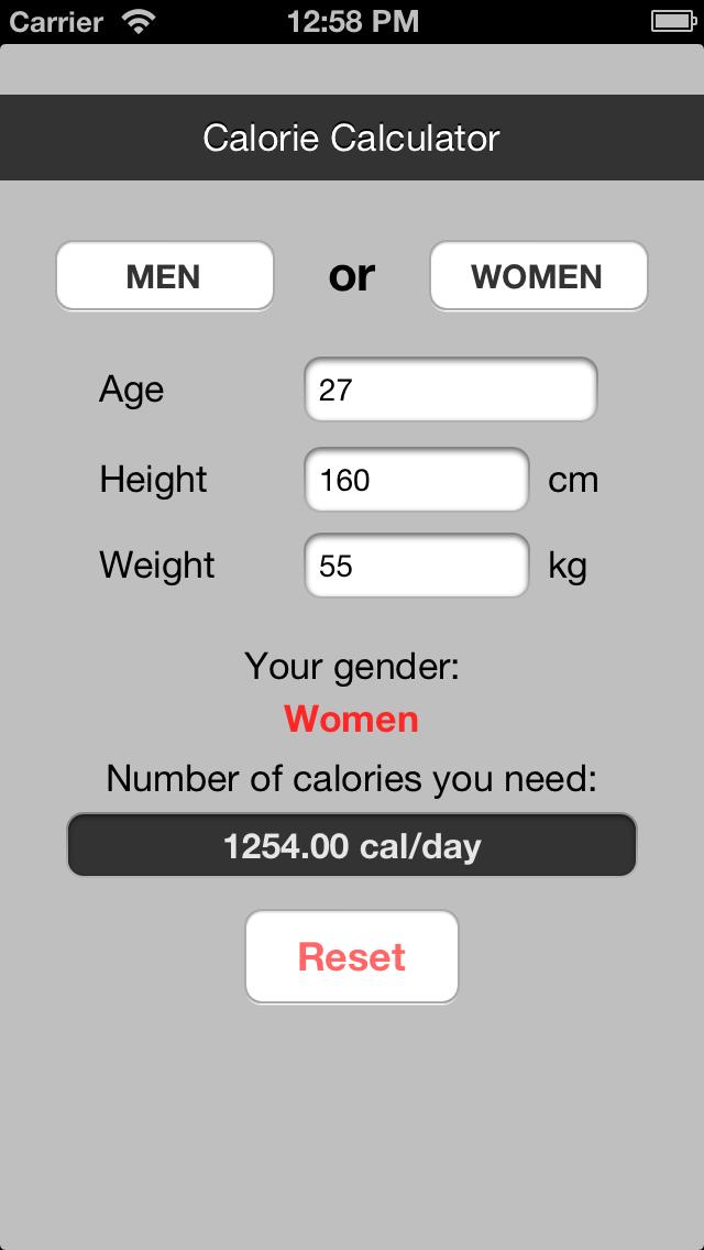 Calorie Counter (BMR) screenshot three