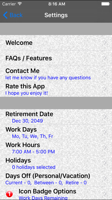 Retirement Countdown Ad Free review screenshots