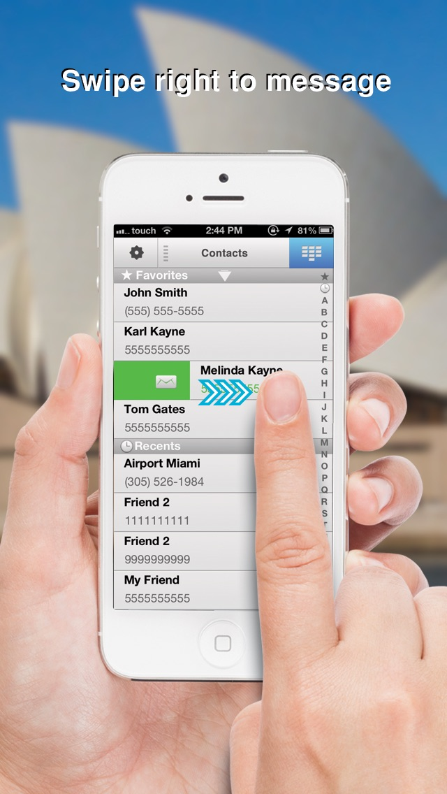 Swipe To iMessage or SMS - Tap to Call & Facetime - By ReachFast Contacts Screenshot