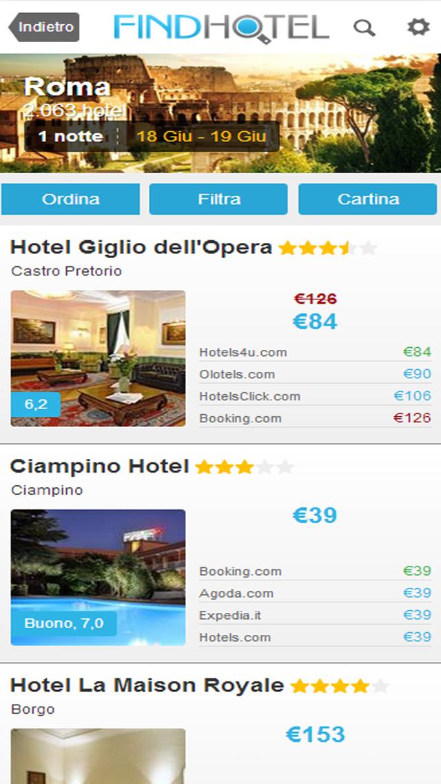Screenshot of Ricerca Hotel - FindHotel è l'app che confronta i prezzi di alberghi e strutture in tutto il mondo: prenotazioni facili e veloci per soggiorni economici o di lusso, ostelli e B&B, per un weekend o per questa sera, grazie alle offerte last minute!2