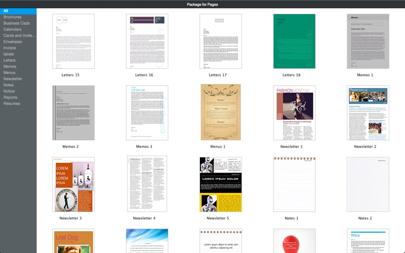 Templates Pro for Pages Documents Screenshot