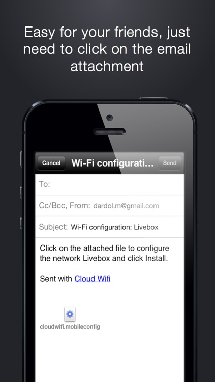 Cloud Wifi : save, sync with iCloud and share wifi keys by email, iMessage and bluetooth screenshot-3