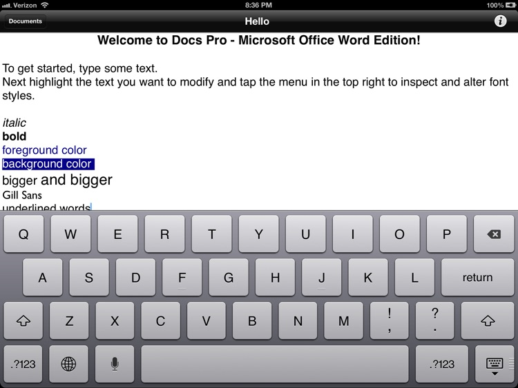 Docs Pro - Compatible with Microsoft Office Word RTF Documents & A Processor To Go for iPad