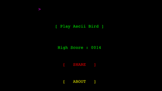Ascii Bird Game screenshot one
