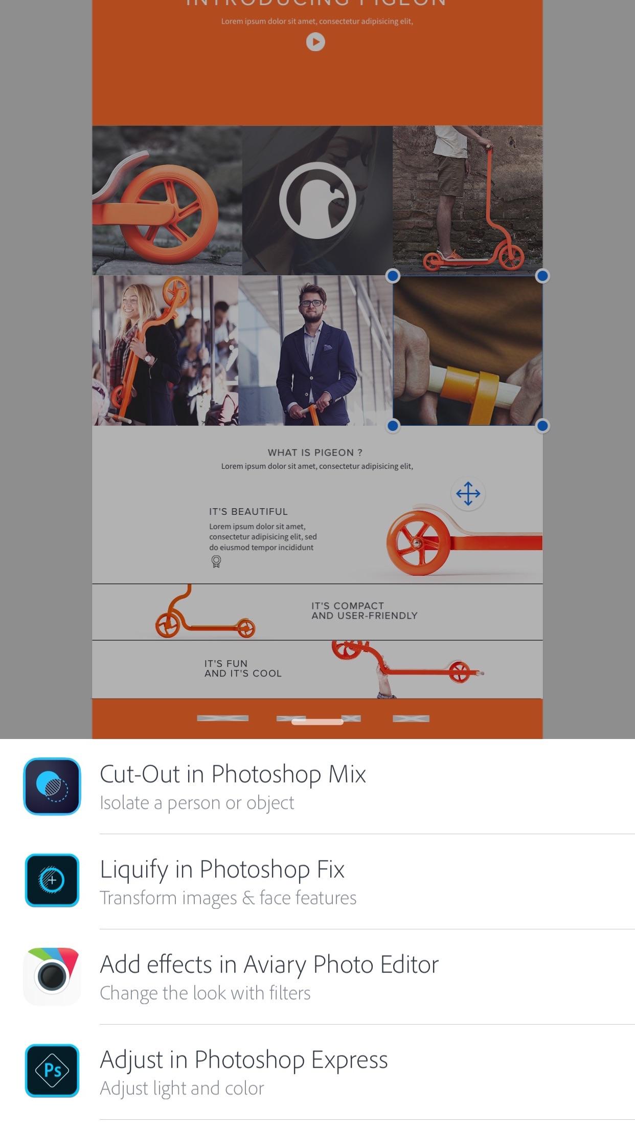 Screenshot do app Adobe Comp CC