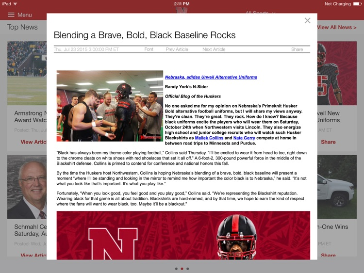 Nebraska Huskers for iPad 2015