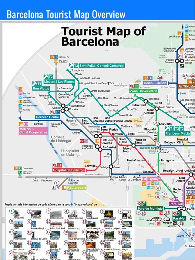 Barcelona travel guide and offline map metro Barcelona subway train