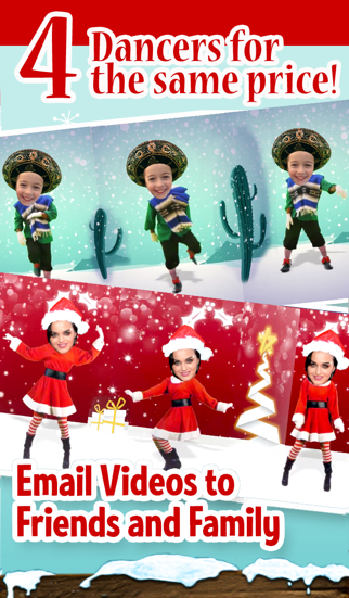 4 dancers for 1 price. Save video to your phone photo gallery, upload, message, or email high def videos. NEW Version: Classic Elf, Ms. Merry Christmas, ...