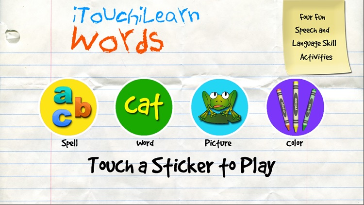 iTouchilearn Words for Preschool Reading, Spelling, Speech Skills