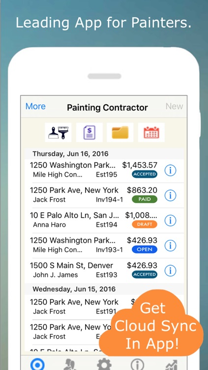 Painting Contractor Estimating and Invoicing Tool (for many trades: Painters, Decorators, Designers, Artists, Wallpaper, Handymen, Home Improvement, Carpenters, Home Builders and more) screenshot-0
