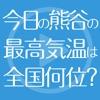 今日の熊谷の気温は全国何位?