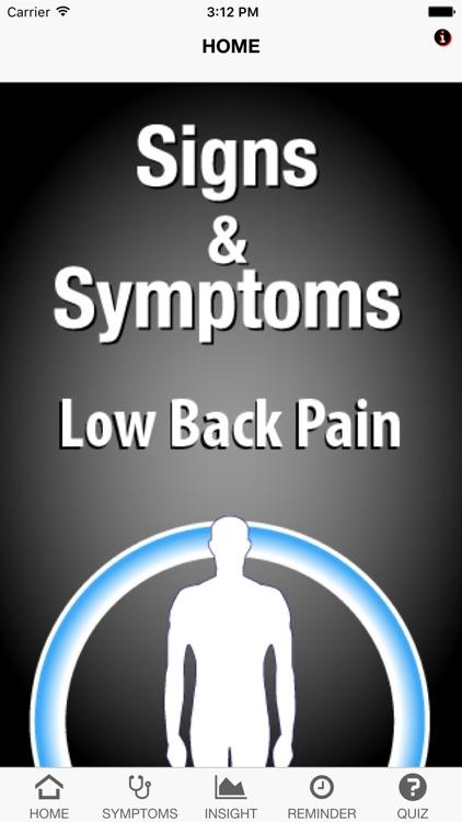 Signs & Symptoms Low Back Pain