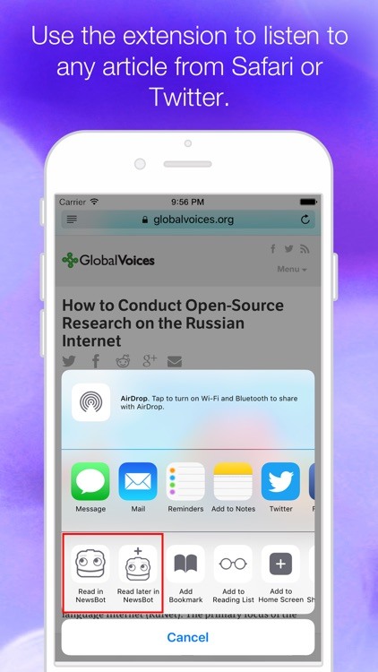 NewsBot - Listen to Your News Articles Handsfree like Podcasts