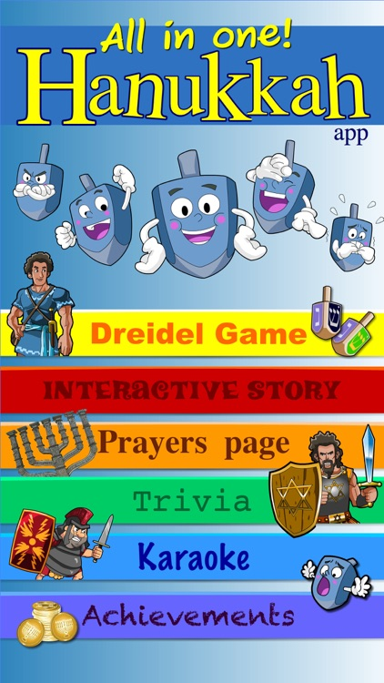 Hanukkah story, Hebrew songs music, Jewish holidays prayers trivia, kids Dreidel game Judaism
