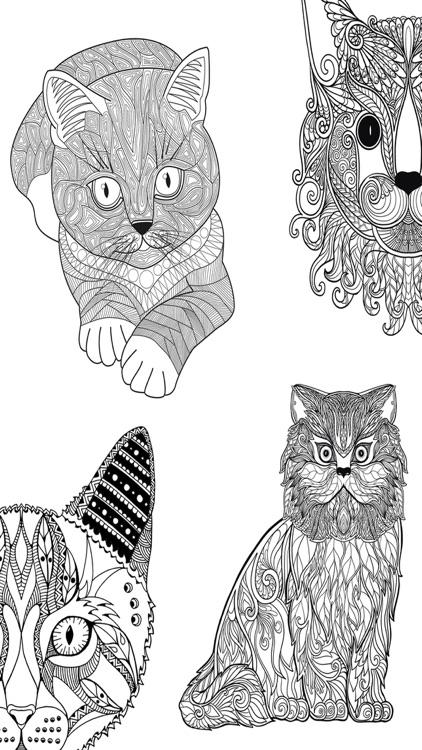 Cats & kittens - Mandalas coloring book for adults screenshot-3