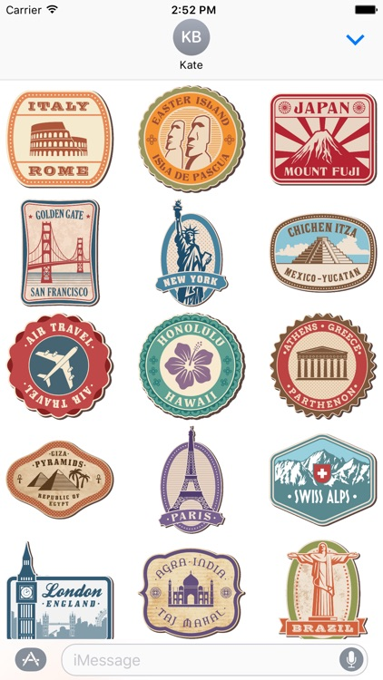 Famous Places Stickers and Badges