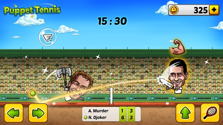 Puppet Tennis: Topspin Tournament of big head Marionette legends