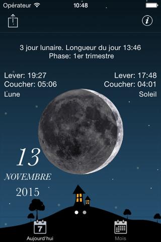 Sky and Moon phases calendar screenshot 2
