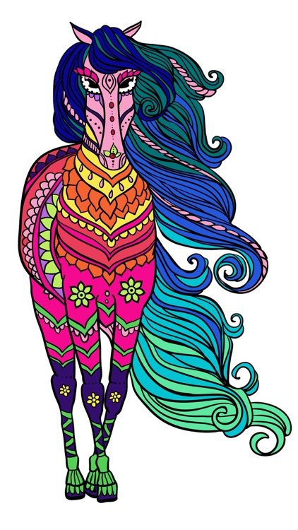 Mandalas Horses Coloring pages for adults - Pro
