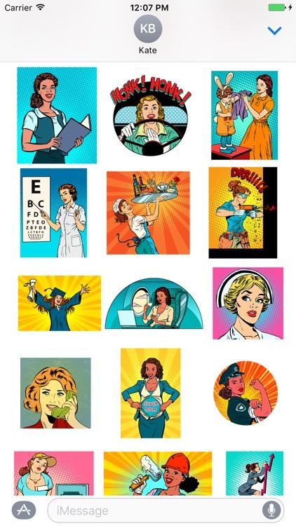 Awesome woman emoji & stickers