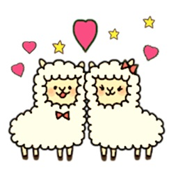 Couple Alpaca in Love Sticker