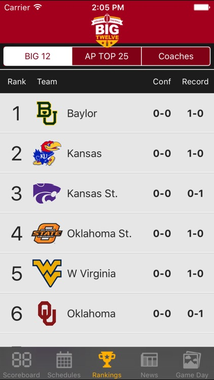 Big 12 Football Schedules & Scores screenshot-1
