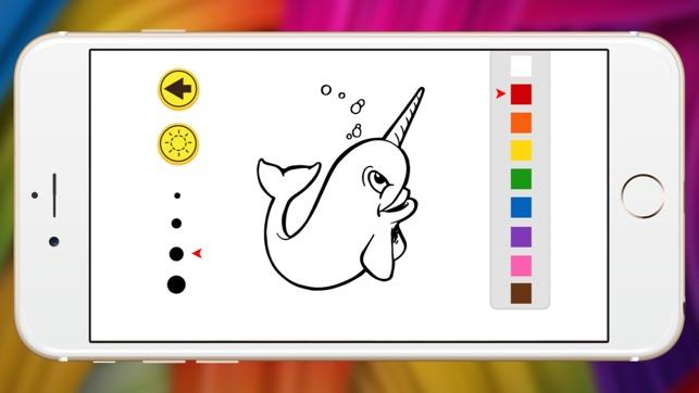 libro para colorear animal marino espectáculo narval para el cabrito ...