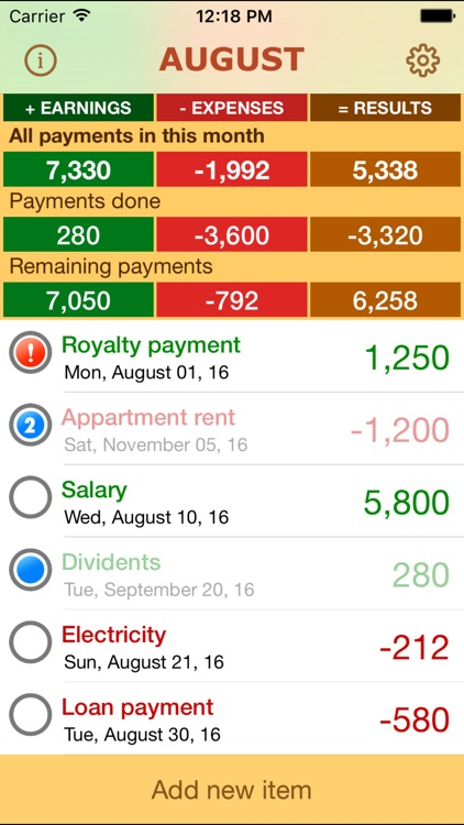 Payments – scheduled earnings and expenses reminder screenshot-0