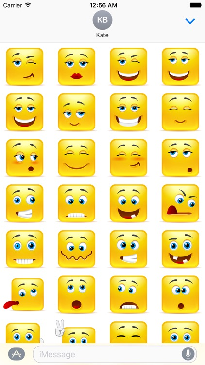 Yellow Square Smiley Emoji Stickers
