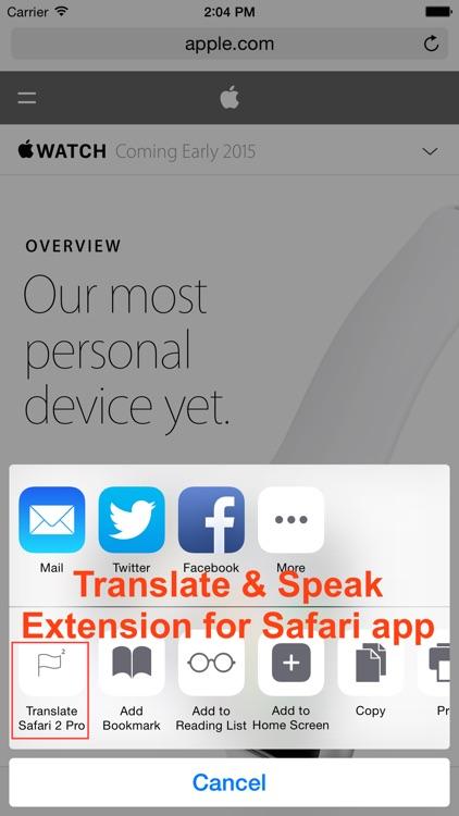 Translate 2 Pro for Safari