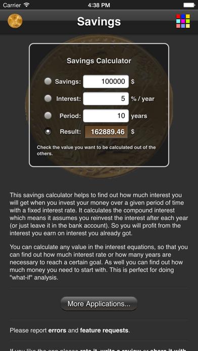 Savings Calculator review screenshots