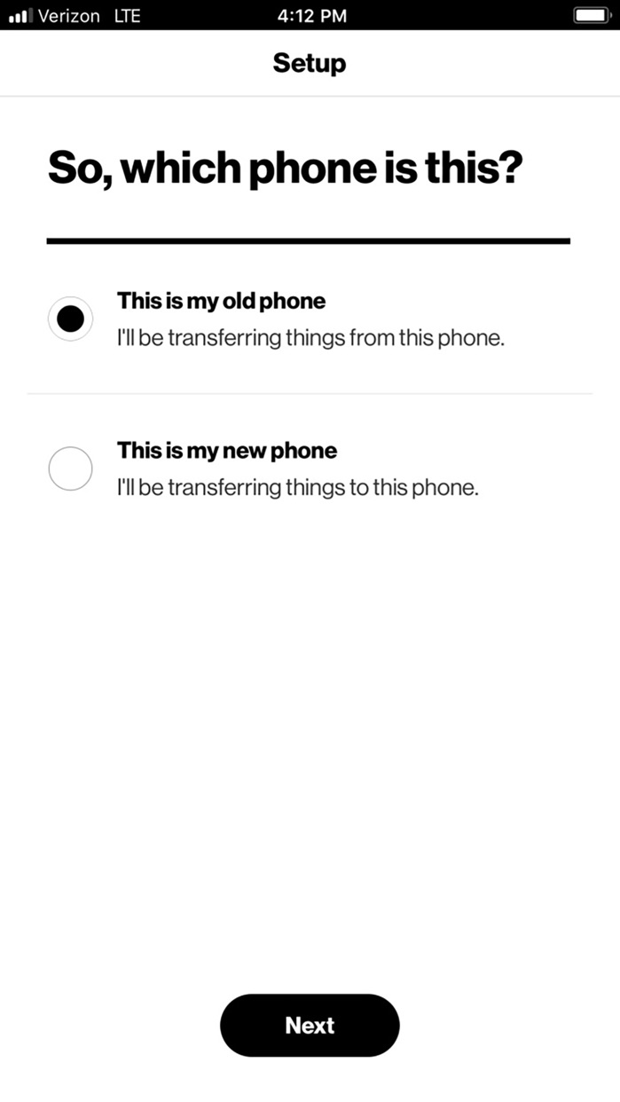 Verizon Content-Transfer Screenshot