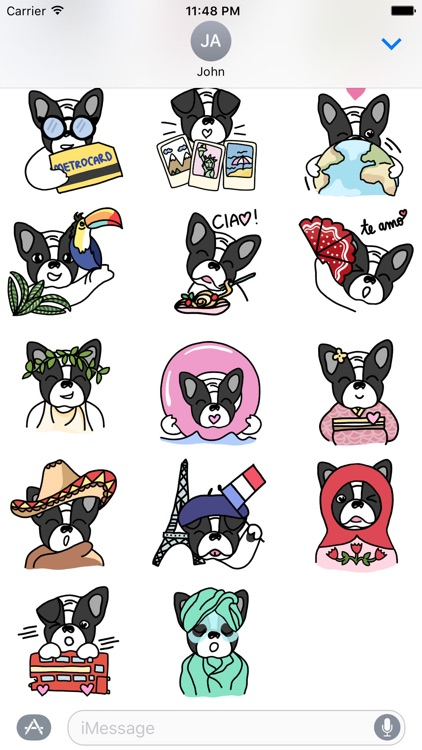 Frenchie Travel Stickers by Yeah Bunny screenshot-3
