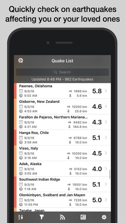QuakeFeed Earthquakes